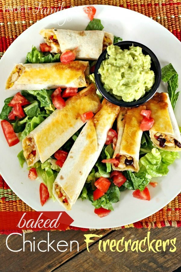 """These Chicken Firecrackers make for a great game-day appetizer or a quick after-school snack for the kiddos. They remind me a lot of Southwestern Eggrolls, but they are easier AND they are baked!I love freezing these and serving them one or two at a time for an after-school snack! My kids LOVE them (and they love that they are called """"firecrackers"""")"""