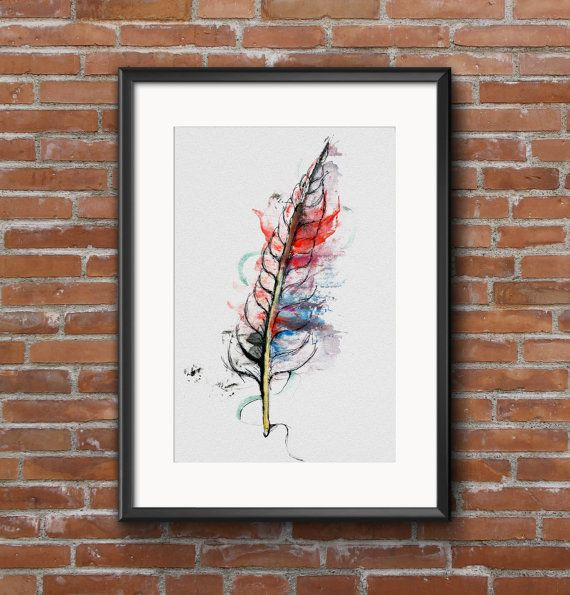 watercolor art by noizone ''feather'' https://www.etsy.com/listing/224829461/watercolor-painting-feather-home-decor?ref=listing-shop-header-2