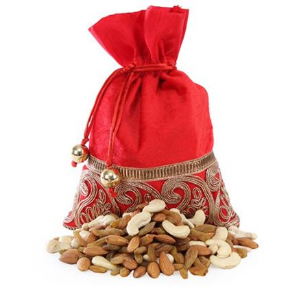 Red Potli Bag With Dry Fruits - Buy Fresh Red Potli Bag With Dry Fruits Online at Lowest Price   Giftalove.com