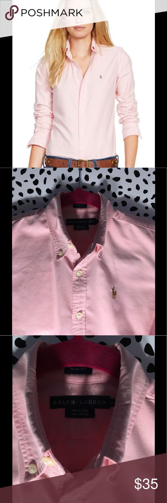 "Polo Ralph Lauren Slim Fit Long-Sleeve Oxford Pink Only wore twice. In good condition - has been dry cleaned already!  ------ Polo Ralph Lauren's polished slim-fitting shirt is crafted from washed cotton oxford and designed with Ralph Lauren's multicolored signature embroidered pony at the left chest. ------- Slim Fit: Ralph Lauren's trimmest silhouette with stretch. Size medium has a 27¾"" front body length, a 27¼"" back body length, and a 32¼"" sleeve length. Back body length and sleeve…"