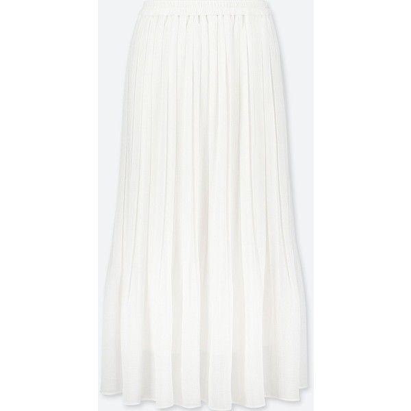 UNIQLO Women's High-waist Chiffon Pleated Skirt (96 PEN) ❤ liked on Polyvore featuring skirts, white, long chiffon skirt, long white maxi skirt, long skirts, long maxi skirts and long high waisted maxi skirts