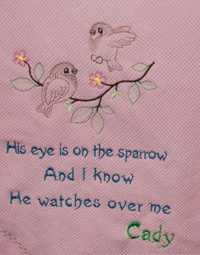 machine embroidery projects | Sparrows vintage stitch machine embroidery design on a baby blanket.