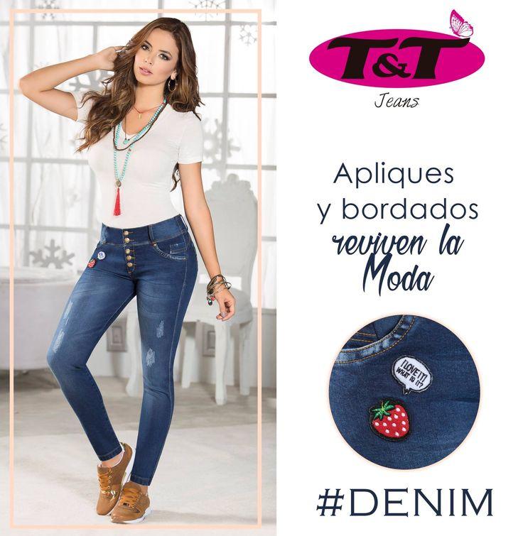 Revive la moda y luce con mucho estilo con nuestros Jeans levantacola con apliques. Toques de sensualidad en tus jeans de siempre wwww.jeanstyt.com #Denim #YoVistoTyt #TytJeans Ref. BOYFRIEND SAN DIEGO