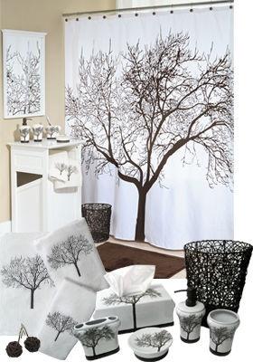 Splash Home Tree Design Bathroom Accessories | Bomen   Tree Shower  Curtains, Fabric Shower Curtains En Vinyl Shower Curtains
