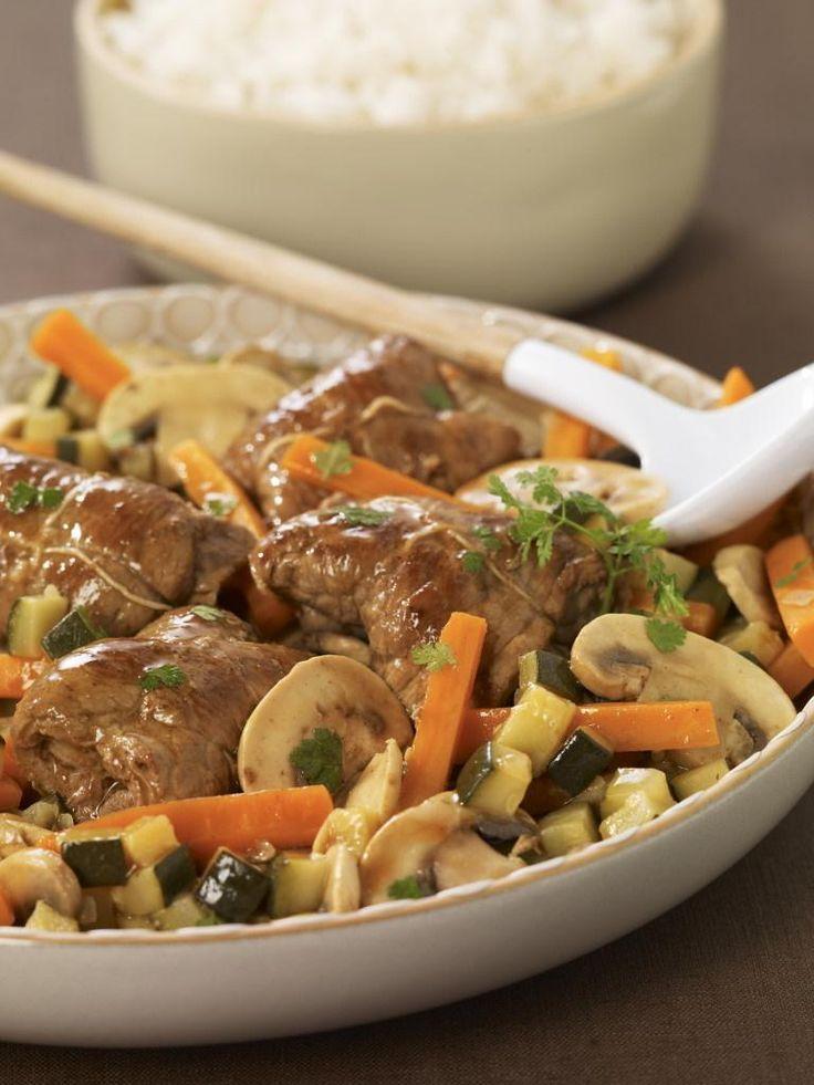Paupiettes de veau aux petits légumes, échalotes et cerfeuil