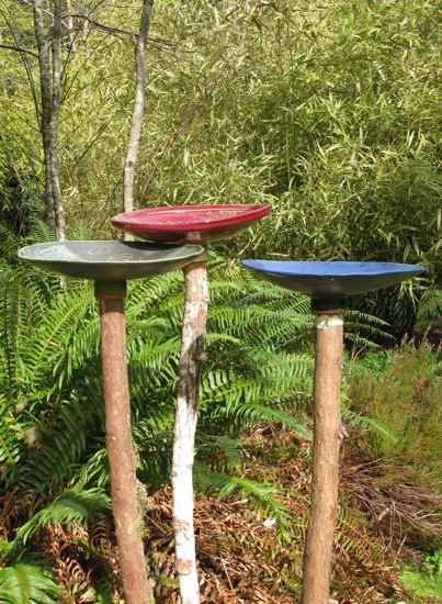 Birdbath Trio / the artful garden. What to do with junk trees you have to chop down