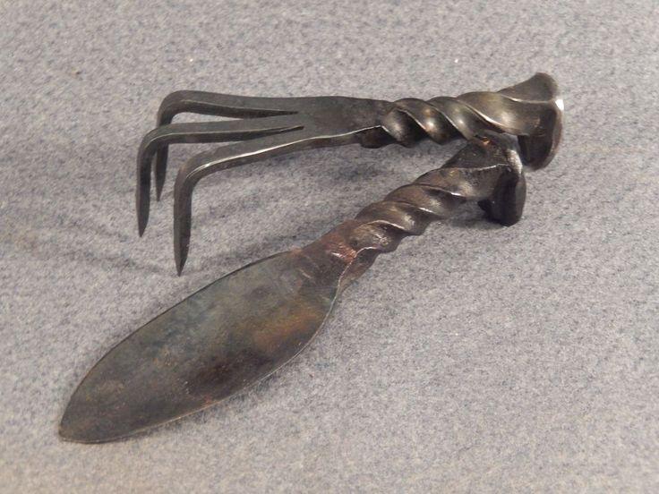 Hand Forged Railroad Spike Garden Tools Spike, Shovel, Spade, Trowel & Rake Set