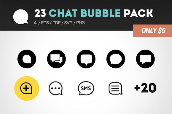 23 Chat bubble pack  by Chanut-is Product on @creativemarket