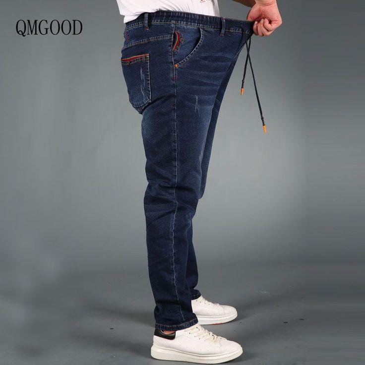 Aliexpress.com: Comprar QMGOOD Nuevos Hombres Ocasionales Stretch Tamaño Straight Jeans Tamaño Grande L 5XL Cresta de Cintura Elástica de Algodón de Vaquero de Los Hombres Pantalones Largos azul de straight jeans fiable proveedores en QMGOOD Store