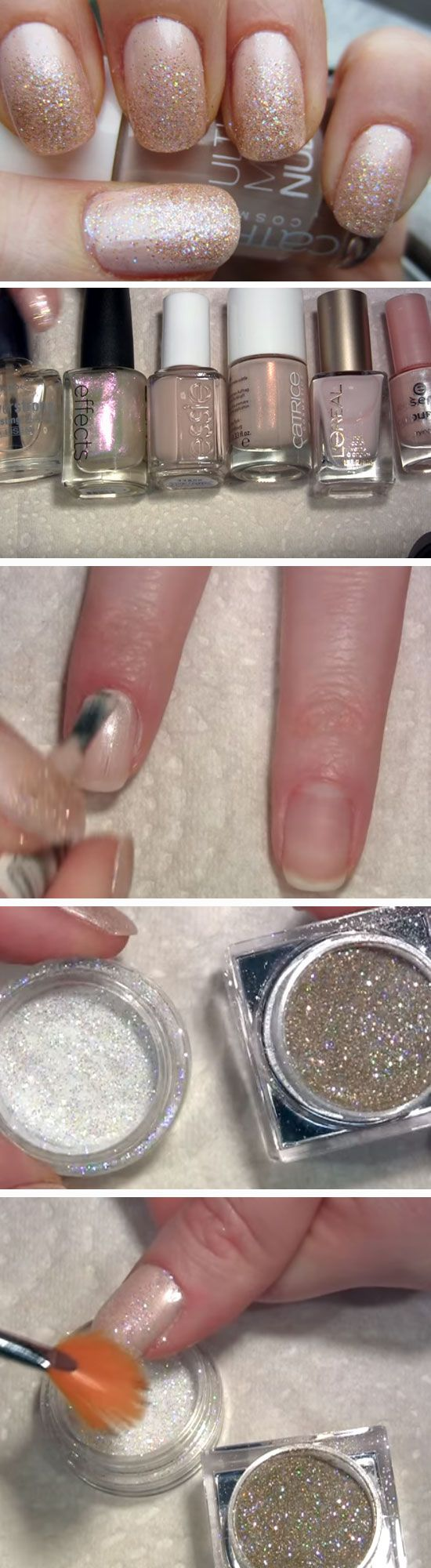 Nude Glitter Princess | Prom Nail Art Designs with Glitter