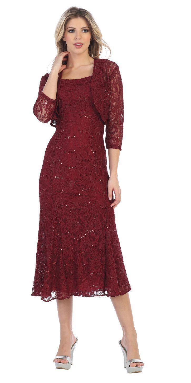 Sally Fashion 8863 Burgundy Tea Length Semi Formal Dress With Lace Bolero Jacket 2019 Tea Length Dress Black Tea Length Dresses Lace Dress Formal Dresses [ 1450 x 725 Pixel ]