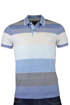 men's hugo boss black treviso polo shirt blue stripe by HUGO BOSS BLACK  £85.00