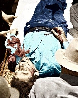 Clyde Barrow's death photo colorized by C. Flynn