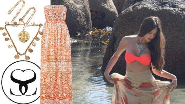 Add a pop of coral to your boho beach look with a Scarlett Swimwear Bandeau Bikini