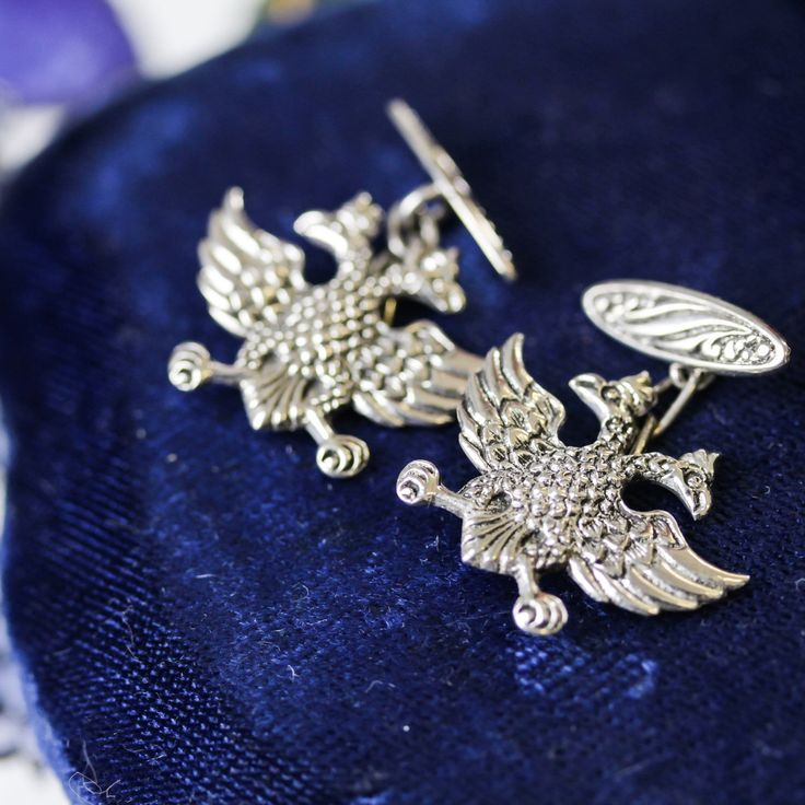 These sterling silver double headed eagle cufflinks would make the perfect V-Day gift for a well dressed gentleman!