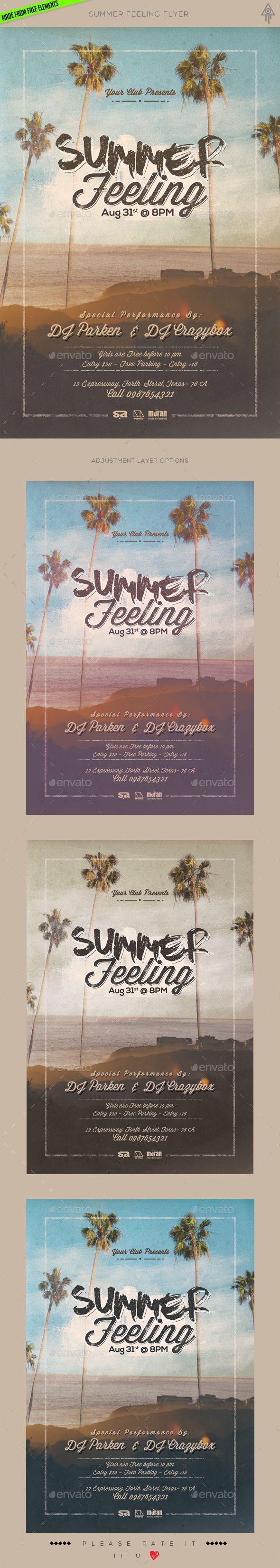 Summer Feeling Flyer Template PSD. Download here: http://graphicriver.net/item/summer-feeling-flyer/16511846?ref=ksioks