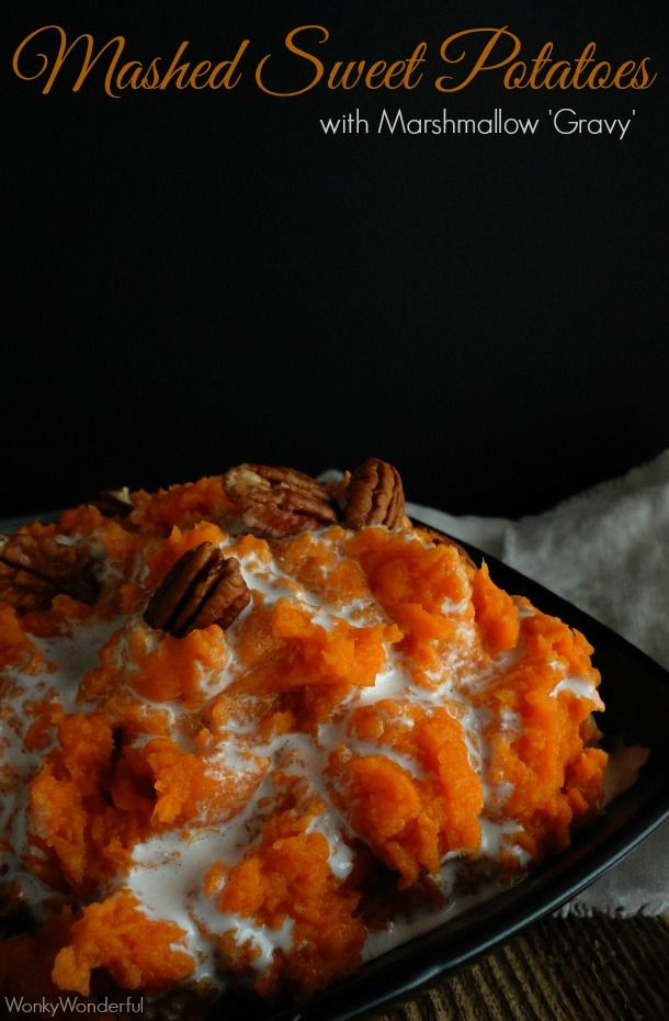 Mashed Sweet Potato Casserole Recipe - Mashed Sweet Potatoes with Marshmallow Drizzle - wonkywonderful.com #thanksgiving