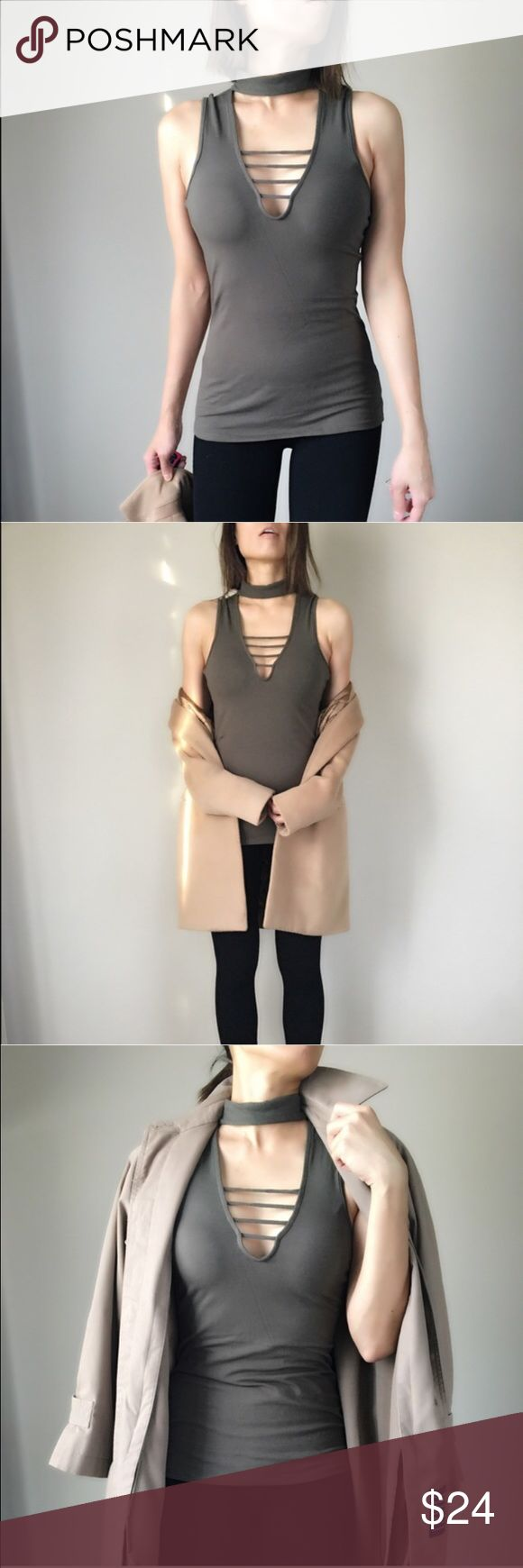 """Mock choker bodycon top Mock choker body con top. In dirty olive. 2 button back neck. Great for stylish everyday wear. Size S bust 30"""" length 26"""" w:26"""", size M bust 31"""", length 27, w:27"""". Stretchable body con material. Follow me on  INSTAGRAM: @chic_bomb  and FACEBOOK: @thechicbomb CHICBOMB Tops"""