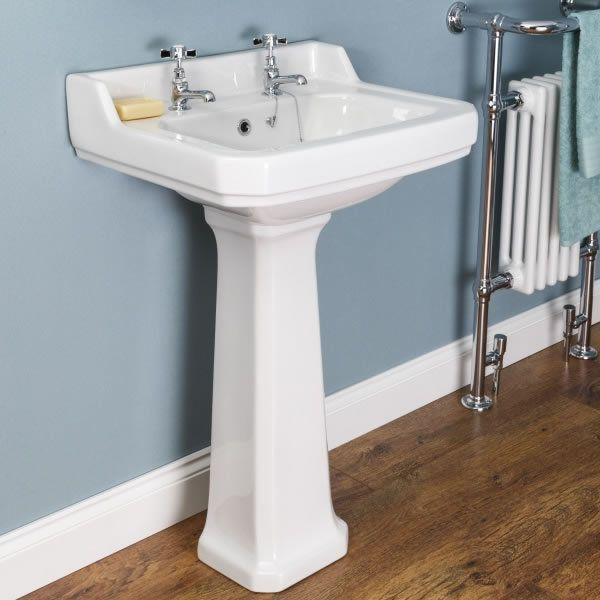 Park Lane Windsor Full Pedestal 560mm 2 Tap Hole Bathroom Sink