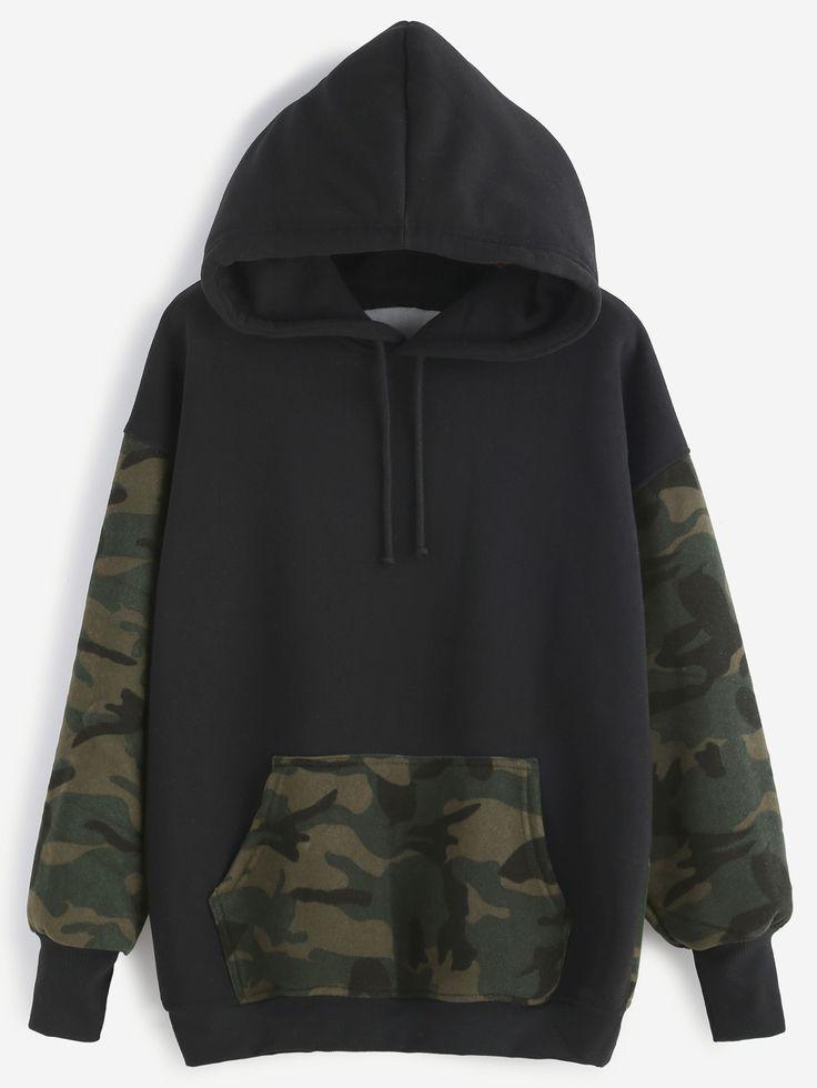 Kapuzensweatshirt kontrast Camo Druck mit Tunnelzu…