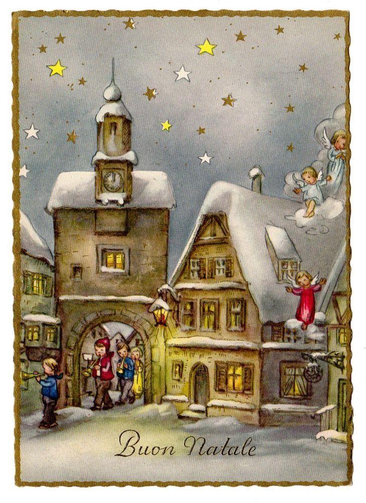 Natale Antico Immagini.Antica Cartolina Buon Natale Angeli Bambini Paesaggio Epoca