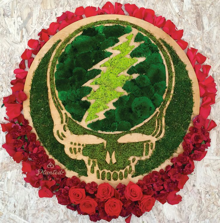 Grateful Dead Steal Your Face Moss Wall Hanging by PlantedDesign