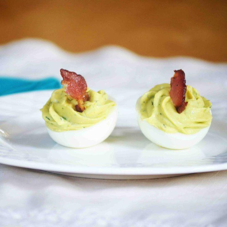 Avocado Bacon Ranch Deviled Eggs