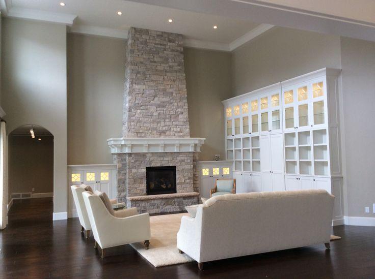 Cabinet Detail | Stone Fireplace #mcewancustomhomes