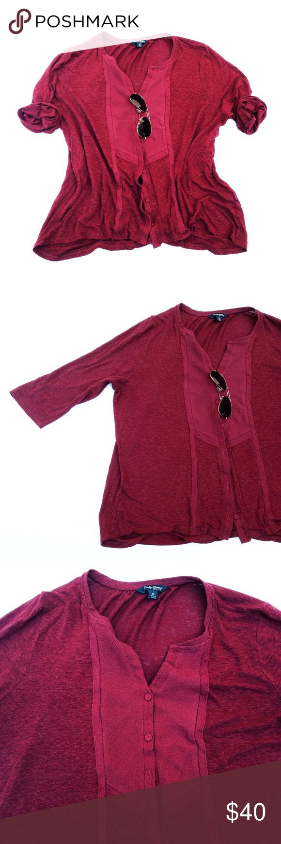 🎈FINAL PRICE🎈LUCKY BRAND top So soft and breezy. Perfect dark red. Buttons all the way upfront. Pit to pit appx 22, length appx 25, sleeve appx 17.  Thank you for visiting my closet. Please let me know if you have any questions. :) Lucky Brand Tops