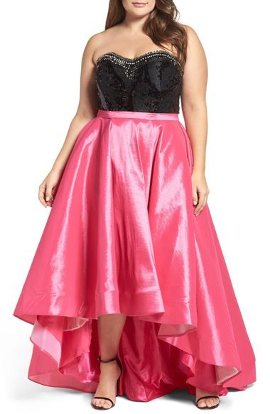 Mac Duggal Embellished Lace & Taffeta Strapless High/Low Gown (Plus Size) available at #Nordstrom