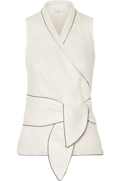 Max Mara - Linen Wrap Top - White - UK10