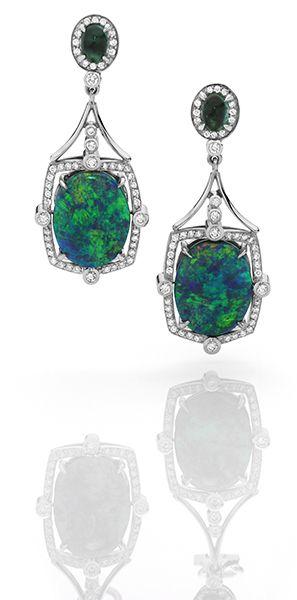 Natural Australian black opal and diamond earrings