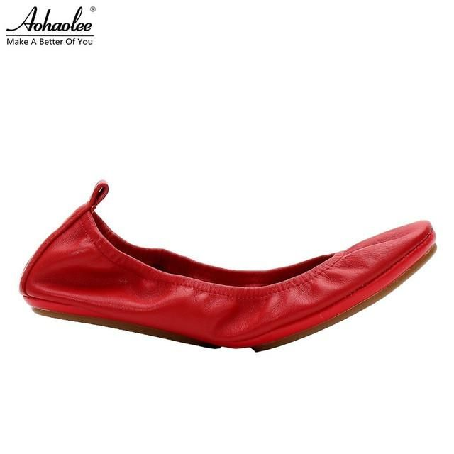 Aohaolee Fashion Brand Women Shoes Comfort Round Toe Leather Ballerina Foldable Ballet Flats Portable Travel Flats Pocket Shoes - On Trends Avenue