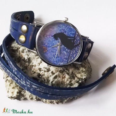 Fekete macskás  marhabőr karkötőóra, Ékszer, óra, Mindenmás, Karóra, óra, Karkötő, Meska