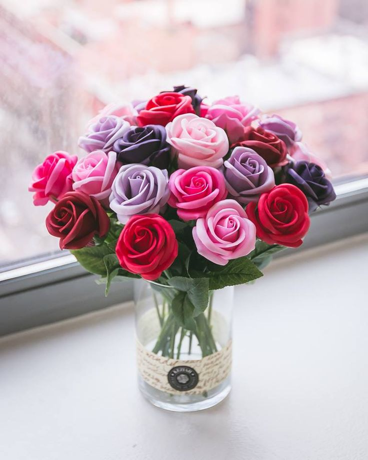 """- 24 roses soap flowers assorted color flowers. - Measures appoximately 11 3/4""""(30cm) tall (4 1/2"""" (11,5cm) tall vase only) - Includes at least 2 different Bushes and Bushes will vary - ITEM # : M1632 - Price : $120 - Delivery : fee not included email us for detail of delivery #www.keziaherez.com #Order keziaherez@gmail.com #mother's day gift #happybirthday gift #valentinesday gift #soapflower #love #flower stagram #flower"""