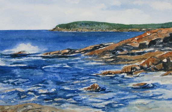 59 best watercolor paintings of maine new england images for Acadia national park fishing