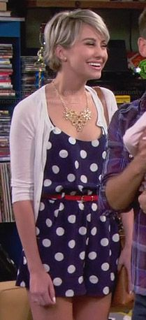 Riley's blue polka dot romper on Baby Daddy.  Outfit Details: http://wornontv.net/25532/ #BabyDaddy
