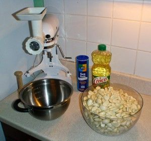 Our tools - a KitchenAid with grinder attachment, salt, canola oil, and garlic