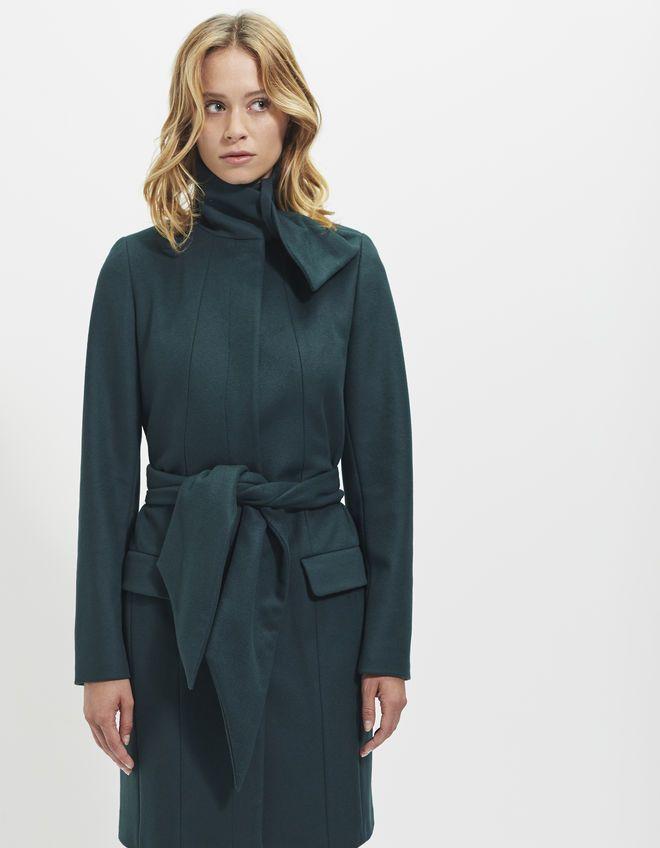 Manteau long vert femme