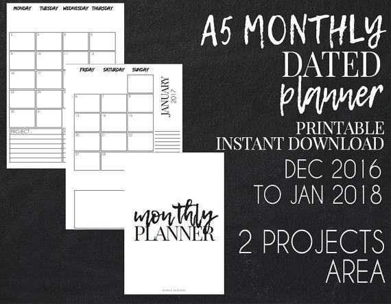 2017 A5 dated monthly planner pages printable. Meet me on Etsy !