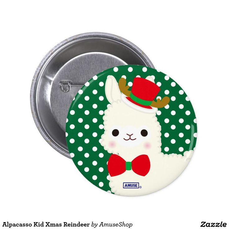 Alpacasso Kid Xmas Reindeer 2 Inch Round Button