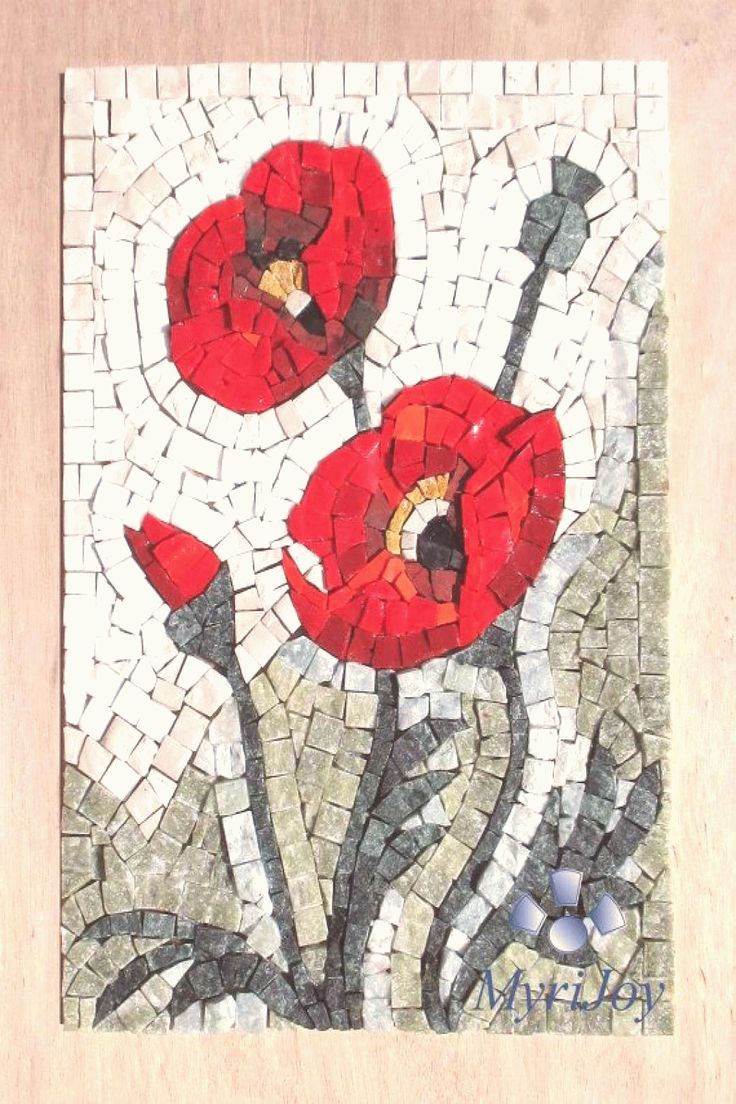 Mosaic kit diy poppies stained glass mosaic tiles mosaics