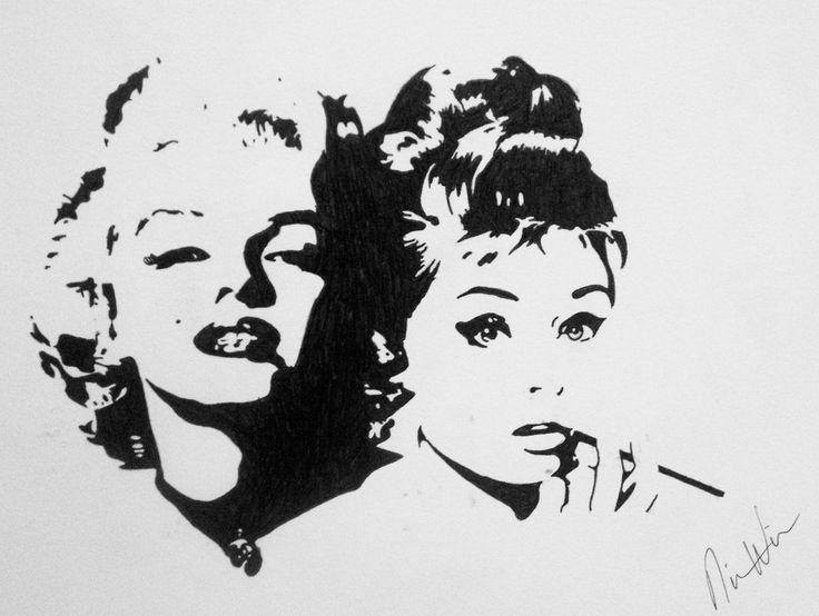 Marilyn Monroe and Audrey Hepburn Silohuette by NicNac1.deviantart.com on @DeviantArt