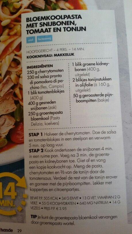 Bloemkoolpasta met snijbonen, tomaat en feta