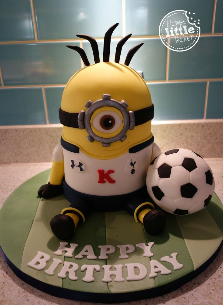 Minion wearing a Tottenham Hotspur kit cake.  A very poor photo but it was taken very early in the morning before setting off for work.