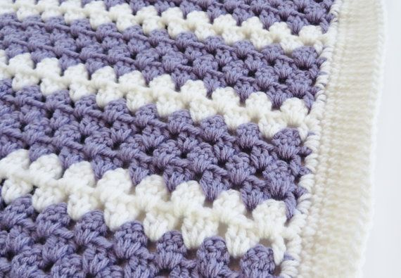 Crochet Baby Blanket Purple and White 38x38 by MockingbirdKnits