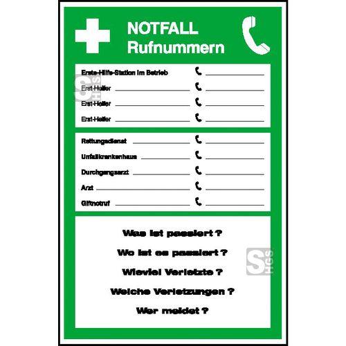 Notruftafeln – die stillen Helfer im Betrieb  #Arbeitssicherheit #Betriebsaushang #Notfallaushang #Notfalltafel #Notrufaushang #Notrufnummern #Notruftafel #Unfallmeldung