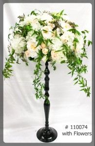 Black Stand 27 inches tall with 7 inch plate with flowers  110074