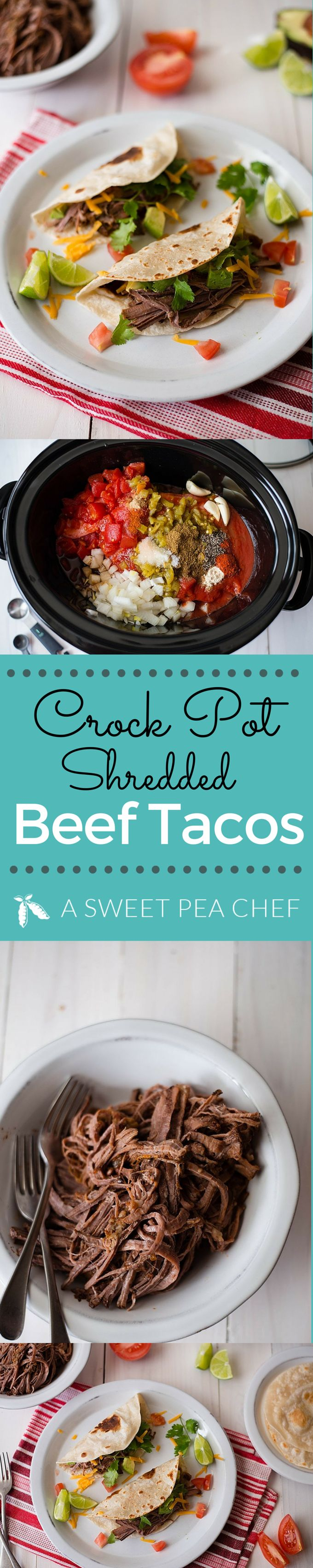 Crockpot Shredded Beef Tacos This is a great Crock Pot Shredded Beef Tacos recipe that works great in a slow cooker or Dutch oven. Plus a homemade taco seasoning. Recipe and photos by Lacey Baier | www.asweetpeachef.com