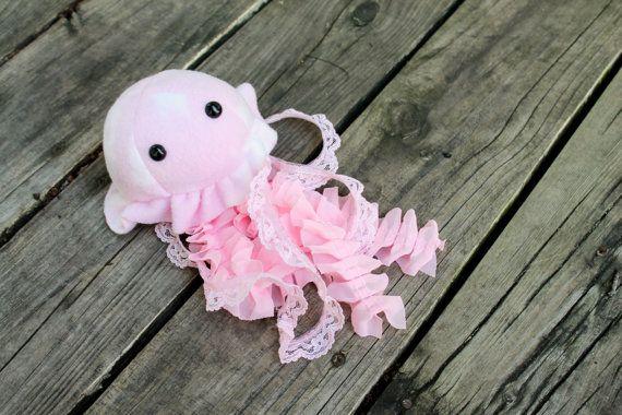 Pink Jellyfish Stuffed Animal Plush Toy by BeeZeeArt on Etsy, $15.00